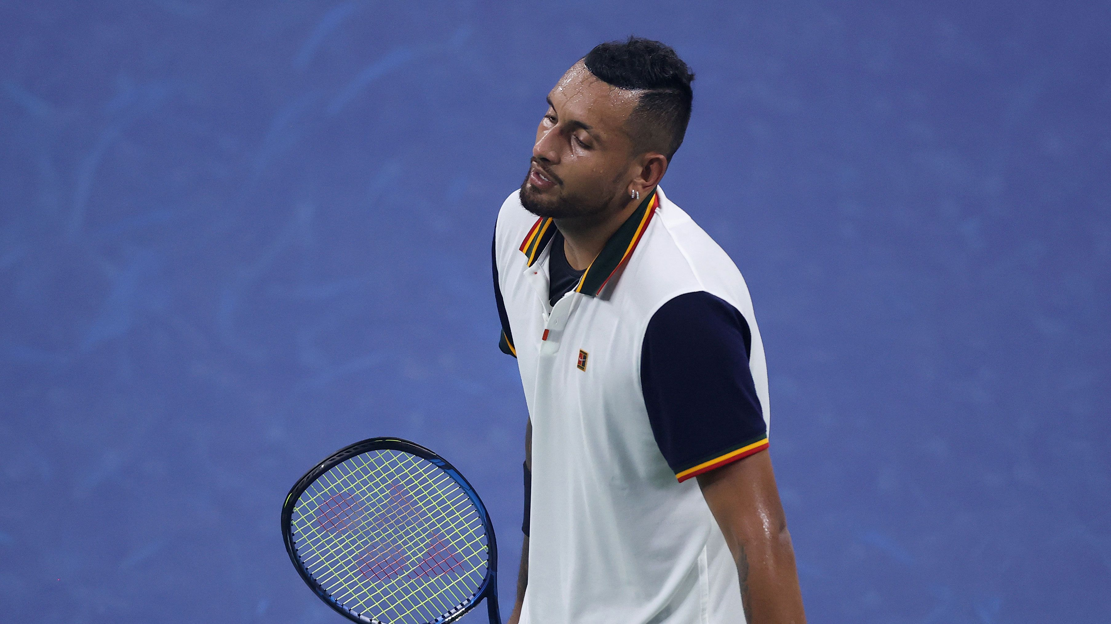Nick Kyrgios reacts after losing a point against Roberto Bautista Agut.