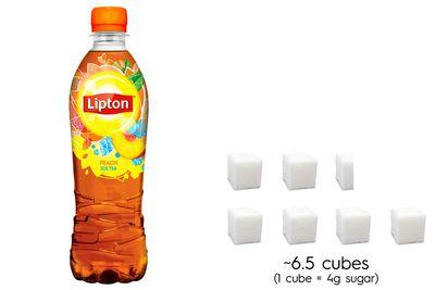 Lipton Peach Ice Tea: 26.5g sugar per 500ml bottle