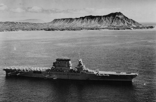 The USS Lexington off Honolulu, Hawaii with Diamond Head in the background on February 2, 1933. (Supplied)