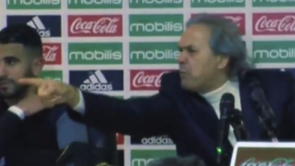 See Algerian football team manager Rabah Majder's angry media interaction