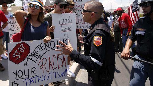 Demonstrators in El Paso showed their disgust of the president's rhetoric.
