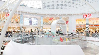Ladurée Chadstone under a dome of light and looking out over the shopping centre