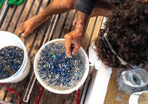 Researchers on board icebreaker's Vortex vessel  collected samples from the Great Pacific Garbage Patch so scientists can learn more about the levels of pollution in the Pacific.