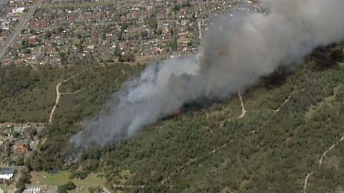 The fire broke out in scrubland at Blue Wren Rise. (9NEWS)