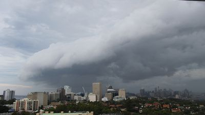 The ominous clouds brought short bursts of heavy rain. (Supplied: Portia Carey)