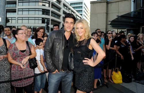Australian actors James Stewart and Jessica Marais at the Star City Bon Jovi concert in Sydney in 2010. Picture: AAP