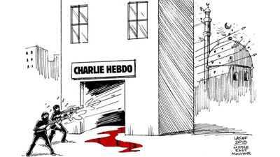 """Charlie Hedbo attack has another victim!"" Carlos Latuff, Brazilian political cartoonist"