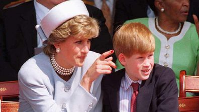 Princess  Of Wales With Prince Harry  At Hyde Park.