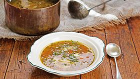 Maggie Beer's chicken soup with leek, onion and barley