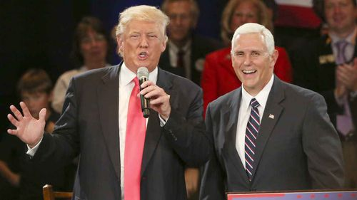 Donald Trump with running mate Mike Pence. (AP)