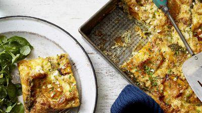 "Recipe: <a href=""http://kitchen.nine.com.au/2017/10/03/18/50/scott-goodings-easy-pumpkin-asparagus-and-goats-feta-frittata"" target=""_top"">Scott Gooding's easy pumpkin, asparagus and goat's feta frittata</a>"