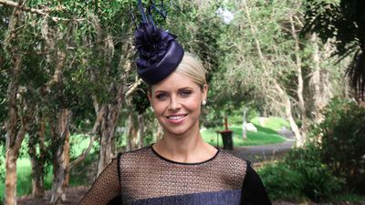 Nine News' Julie Snook sports a Ginger & Smart dress teamed with a custom-made leather hat by Cynthia Jones-Bryson. (Sydney Event Blogger)