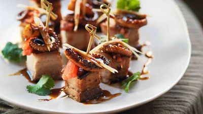 "Recipe: <a href=""http://kitchen.nine.com.au/2016/05/13/13/11/crisp-pork-belly-and-grilled-octopus-with-watermelon-black-vinegar"" target=""_top"" draggable=""false"">Crisp pork belly and grilled octopus with watermelon & black vinegar</a>"