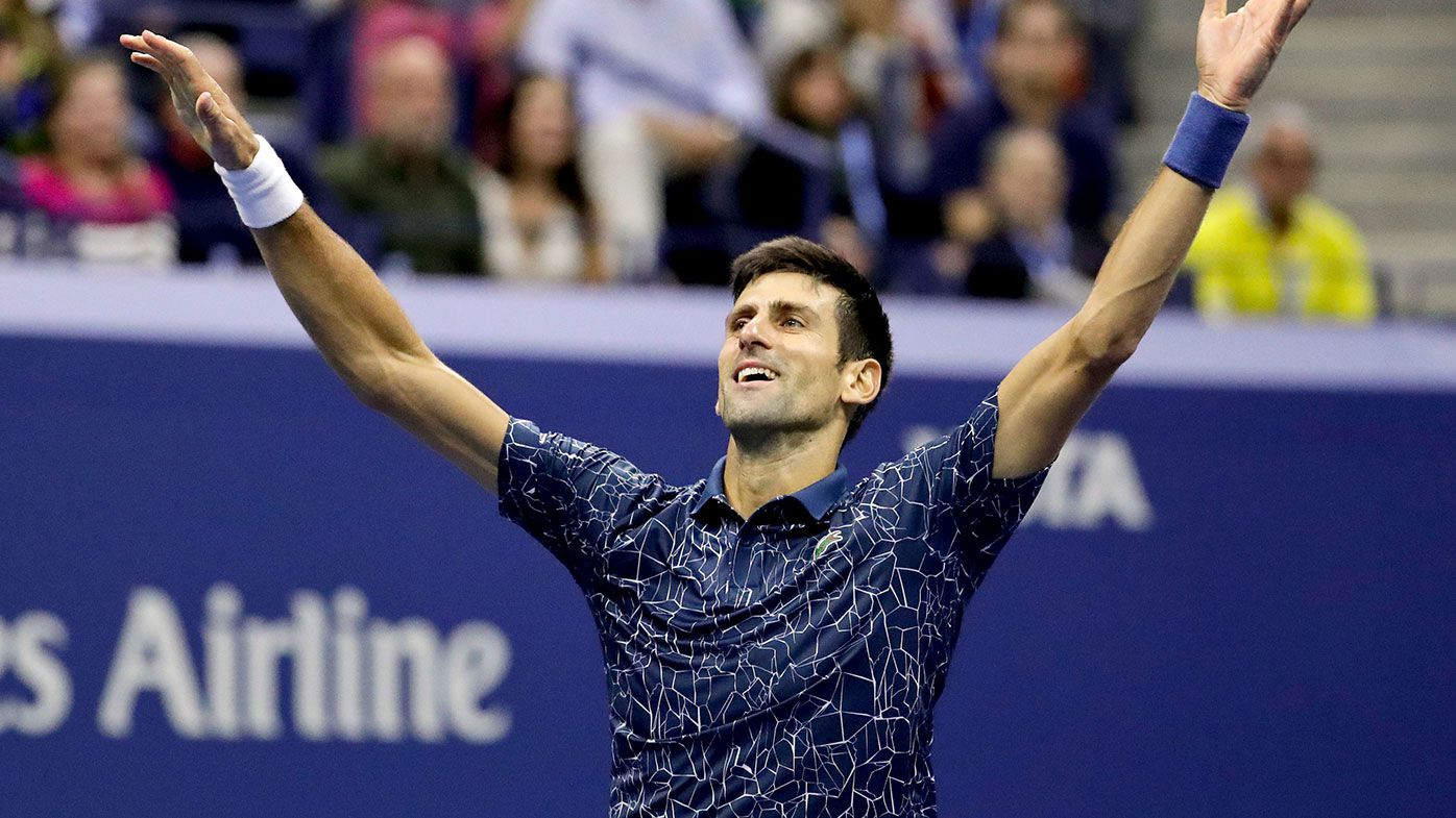 Novak Djokovic celebrates his US Open victory over Juan Martin del Potro.