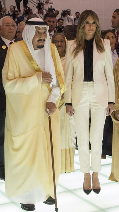 Melania Trump has white pant suit fever in Saudi Arabia.
