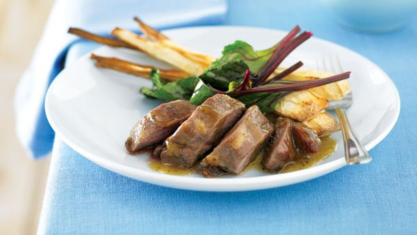 Roast minted lamb and parsnips