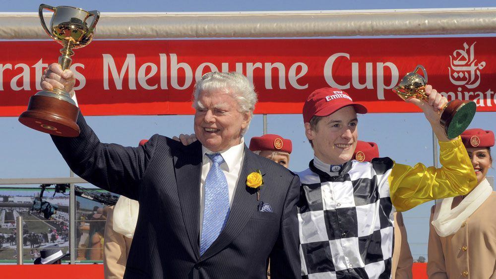 Bart Cummings after his 12th and final Melbourne Cup win in 2008. (AAP)