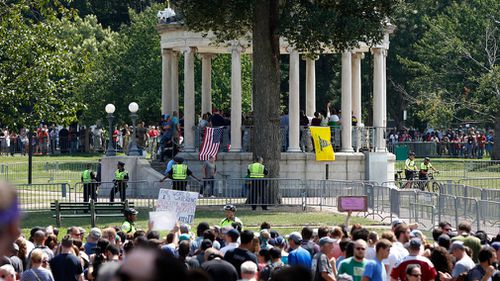 Counter-protesters vastly outnumbered the Boston 'free speech' rally attendees. (AP)
