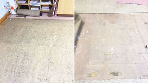Pictures of the carpets showing mould at Robertson Public School before they were replaced.