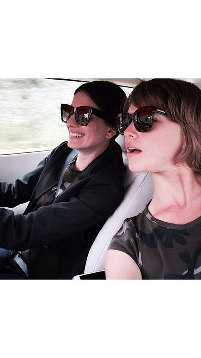 <p>Arizona Muse rides shotgun to Leila Yavari.</p>