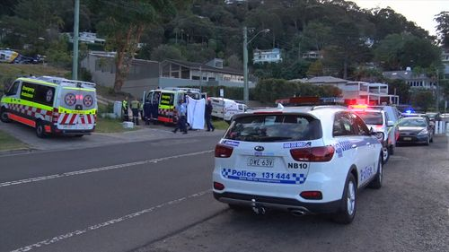 A father and son were rushed to hospital after falling up to four metres from a balcony at a home on Sydney's Northern Beaches. Picture: 9NEWS.
