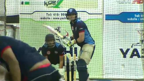Steve Smith batting in the nets ahead of the Global T20. Picture: 9NEWS