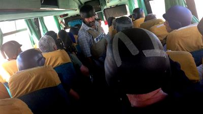 "ABC's foreign news bureaux will be restructured into ""multiplatform hubs"". Pictured a bus full of journalist leaving Gaza, courtesy ABC's Middle East correspondent Hayden Cooper. (Supplied)"