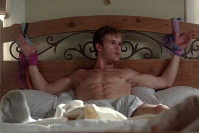 <b>Why is he naked? </b>It's probably in Ryan Kwanten's contract that he has to be stripped and tied to something at least once every season.