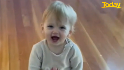 Baby Harper was clearly proud of herself - and so she should be
