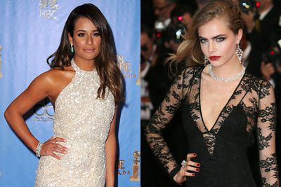 """While trying to attempt a """"healthy glow"""", Lea Michele went a bit overboard in the fake tanning booth. Eek!<br/><br/>Meanwhile, Cara Delivigne didn't factor in the weather when the Cannes downpour caused her to look more streak than sleek.<br/><br/>(Pictured: Lea Michele / Cara Delivigne)"""