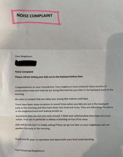 Noise complaint, Facebook, letter