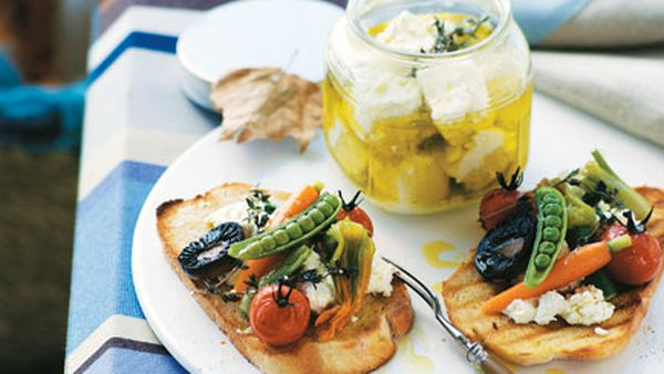 Marinated goat's cheese with summer vegetables