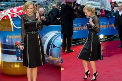 "Girls just want to have fun...and occasionally be bad.<br/><br/>At last night's wet London premiere of her new kiddie flick <i>Paddington</i>, actress Nicole Kidman said she relished the opportunity to play the villainous Millicent, a sinister taxidermist who goes after the CGI-created title bear.<br/><br/>""Well obviously, I was the kid that loved the wicked witch in <i>The Wizard Of Oz</i>, so of course I grew up to be the girl who wants to play the villain in a movie,"" Nicole said. ""I'm always happy to play the bad girl.""<br/><br/>Oh, but it was just for the movie. Nicole was back to being her usual good self on the red carpet."