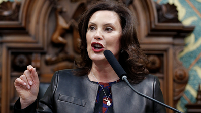 In this Jan. 29, 2020, file photo Michigan Gov. Gretchen Whitmer delivers her State of the State address to a joint session of the House and Senate at the state Capitol in Lansing, Mich.