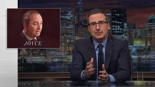 """American talk show host John Oliver has lampooned deputy Prime Minister Barnaby Joyce over his """"hypocritical"""" extramarital affair with former media adviser Vikki Campion (Supplied)."""
