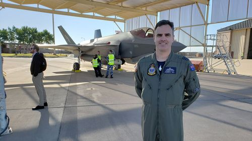 Wing Commander Darren Clare is one of the two Aussie pilots taking these first single seater F35s to their new home base.