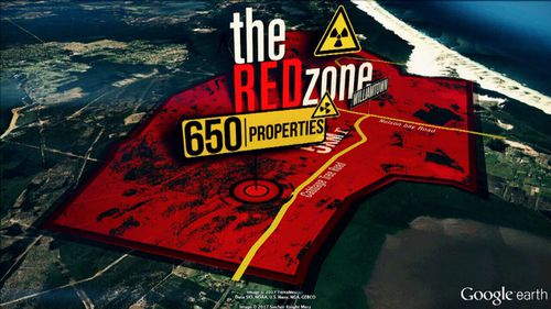 The Red Zone, surrounding the RAAF base.
