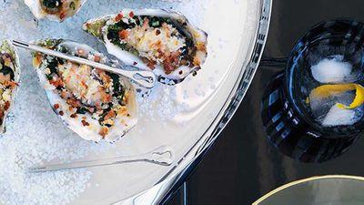 """Recipe:<a href=""""http://kitchen.nine.com.au/2016/05/16/19/35/oysters-rockefeller"""" target=""""_top"""">Oysters Rockefeller<br /> </a>"""