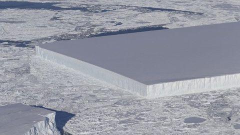 Tabular iceberg after crumbling off the Larsen C ice shelf on the Antarctic Peninsula