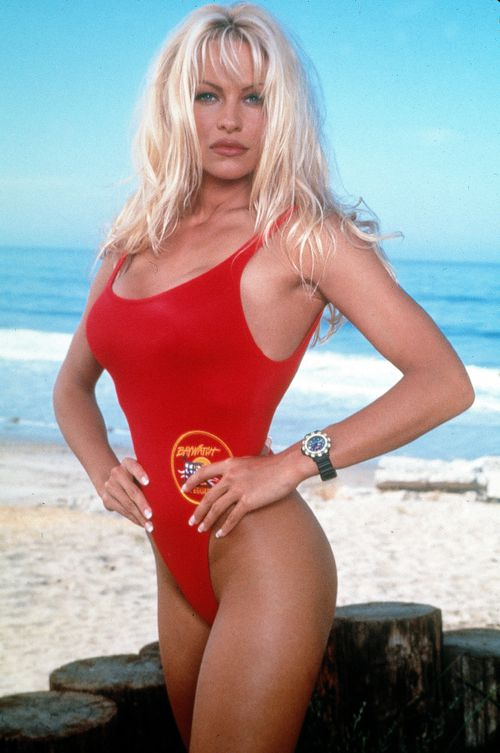 Pamela Anderson pictured on the set of Baywatch in 1995. (AAP)