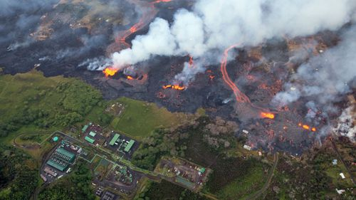 Lava flows from three very active fissures are encroaching upon the Puna Geothermal Venture facility in Pahoa, Hawaii,. (AP).