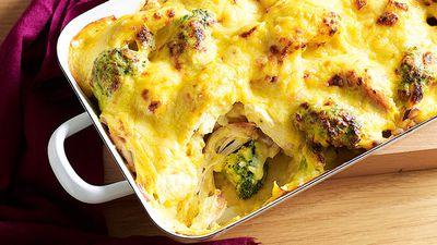 """Recipe: <a href=""""http://kitchen.nine.com.au/2016/05/13/13/02/curried-chicken-cauliflower-and-broccoli-bake"""" target=""""_top"""">Curried chicken, cauliflower and broccoli bake</a>"""