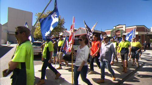 Around 100 subcontractors have protested. (9NEWS)