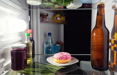 Unhealthy doughnut snack in the fridge