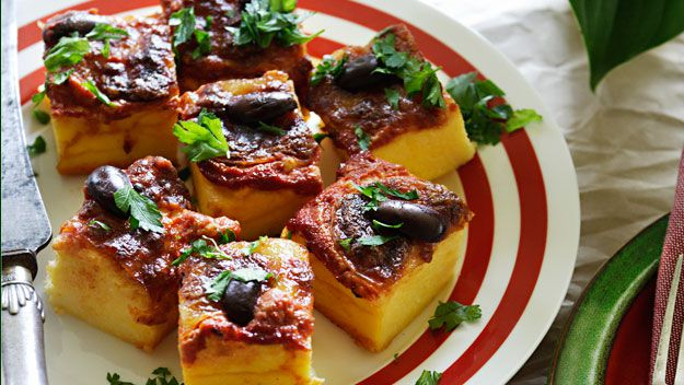 Baked polenta with tomato and bocconcini
