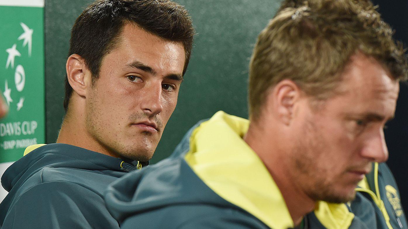 Lleyton Hewitt not ready to welcome back Bernard Tomic to Australian Davis Cup team