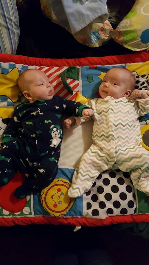 Baby Hunter (left) and his twin sister in a photo posted to social media by their mother. Picture: Instagram
