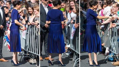 Meghan Markle in a bespoke Givenchy skirt on the final day of the Royal Tour, October 2018