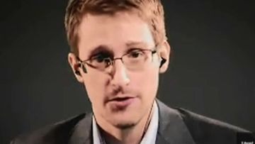 Edward Snowden speaks via video link from Moscow. (AAP file)