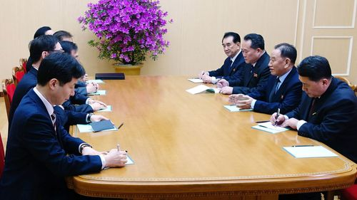 Officials from the south and north koreas meet in in Pyongyang. (AP).
